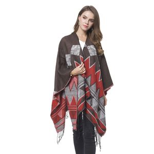 Wine Red and Brown 70% Acrylic & 30% Polyester Geometric Pattern Ruana with Fringes (One Size)