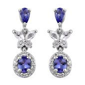 Premium AAA Tanzanite, White Topaz Platinum Over Sterling Silver Butterfly Earrings TGW 1.82 cts.