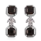 Asscher Cut Brazilian Smoky Quartz, White Topaz Platinum Over Sterling Silver Earrings TGW 5.05 cts.