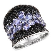 Tanzanite, Thai Black Spinel Platinum Over Sterling Silver Ring (Size 5.0) TGW 6.94 cts.