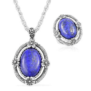 Lapis Lazuli Black Oxidized Stainless Steel Ring (Size 8) and Pendant With Chain (20 in) TGW 15.00 cts.