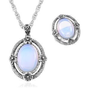 One Day TLV Opalite Black Oxidized Stainless Steel Ring (Size 7) and Pendant With Chain (20 in) TGW 15.00 cts.
