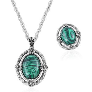 One Day TLV Lab Created Malachite Black Oxidized Stainless Steel Ring (Size 7) and Pendant With Chain (20 in) TGW 15.00 cts.