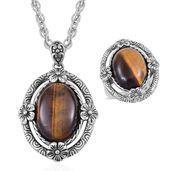 One Day TLV South African Tigers Eye Black Oxidized Stainless Steel Ring (Size 11) and Pendant With Chain (20 in) TGW 15.00 cts.