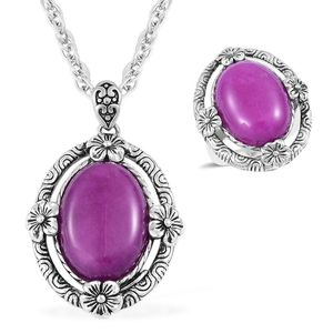 Purple lmperial Jasper Black Oxidized Stainless Steel Ring (Size 7) and Pendant With Chain (20 in) TGW 15.00 cts.
