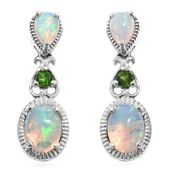 Ethiopian Welo Opal, Russian Diopside Platinum Over Sterling Silver Drop Earrings TGW 2.75 cts.