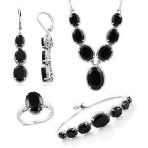 Thai Black Spinel Platinum Over Sterling Silver Bolo Bracelet (Adjustable), Lever Back Earrings, Ring (Size 10) and Necklace (18.00 In) TGW 58.50 cts.