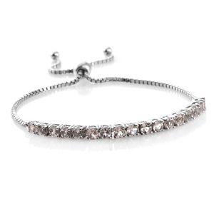Marropino Morganite Platinum Over Sterling Silver Magic Ball Bracelet (Adjustable) TGW 2.89 cts.