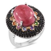 Norwegian Thulite, Multi Gemstone Black Rhodium, 14K YG and Platinum Over Sterling Silver Ring (Size 8.0) TGW 12.42 cts.