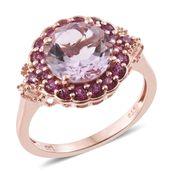Rose De France Amethyst, Orissa Rhodolite Garnet 14K RG Over Sterling Silver Ring (Size 8.0) TGW 4.43 cts.