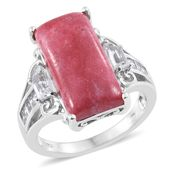 Norwegian Thulite, White Topaz Platinum Over Sterling Silver Ring (Size 11.0) TGW 15.23 cts.