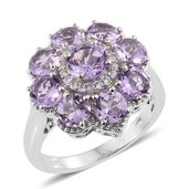 Rose De France Amethyst, Cambodian Zircon Platinum Over Sterling Silver Floral Ring (Size 7.0) TGW 4.71 cts.