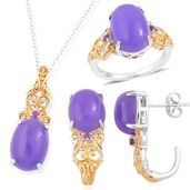 One Day TLV Burmese Purple Jade, Amethyst 14K YG Over and Sterling Silver J-Hoop Earrings, Ring (Size 6) and Pendant With Chain (18 in) TGW 23.99 cts.