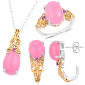 Burmese Pink Jade, Orissa Rhodolite Garnet 14K YG Over and Sterling Silver J-Hoop Earrings, Ring (Size 5) and Pendant With Chain (18 in) TGW 24.33 cts.
