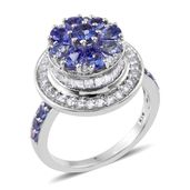 Premium AAA Tanzanite, White Topaz Platinum Over Sterling Silver Floral Ring (Size 9.0) TGW 3.75 cts.
