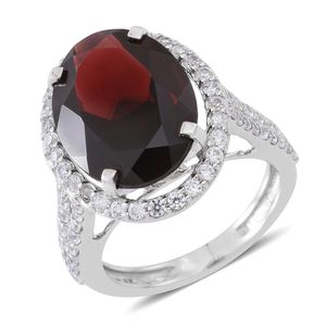 Mozambique Garnet, Cambodian White Zircon Sterling Silver Mounted Halo Ring (Size 6.0) TGW 12.00 cts.