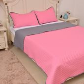 Pink and Gray Microfiber Coverlet (108x94 in) and Sham (20x36 in)