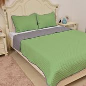 Green and Gray Microfiber Coverlet (90x94 in) and Sham (20x26 in)