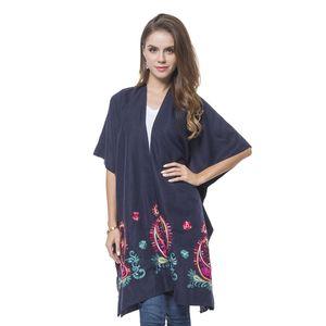 Navy Embroidery 100% Polyester Kimono (35.44x37.41 in)