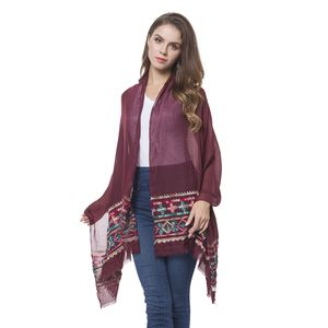 Burgundy 100% Polyester Leaf Pattern Embroidered Scarf (70x28 in)