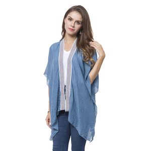 Blue 100% Polyester Kimono with Embroidery Lace (35.43x27.56 in)