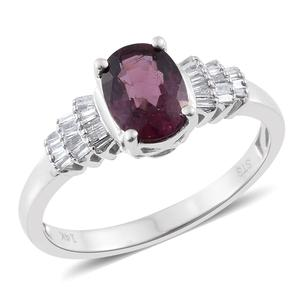14K WG Burmese Red Spinel, Diamond Ring (Size 7.0) TDiaWt 0.20 cts, TGW 1.60 cts.