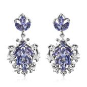 Tanzanite Platinum Over Sterling Silver Dangle Earrings TGW 2.55 cts.