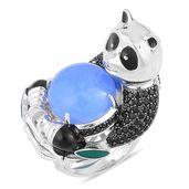 Burmese Blue Jade, Thai Black Spinel Black Rhodium Sterling Silver Panda Ring (Size 10.0) TGW 15.38 cts.