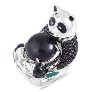 Burmese Black Jade, Thai Black Spinel Black Rhodium Sterling Silver Panda Ring (Size 7.0) TGW 15.38 cts.