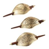 Set of 3 Goldtone Bird Pattern Hair Clips with Wooden Stick (6x1.5 in)