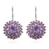 Rose De France Amethyst 14K YG and Platinum Over Sterling Silver Lever Back Earrings TGW 11.50 cts.