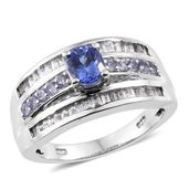 Premium AAA Tanzanite, White Topaz Platinum Over Sterling Silver Ring (Size 9.0) TGW 2.25 cts.