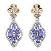 Premium AAA Tanzanite, White Topaz 14K YG and Platinum Over Sterling Silver Earrings TGW 1.18 cts.