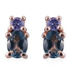 London Blue Topaz, Tanzanite 14K RG Over Sterling Silver Earrings TGW 0.56 cts.