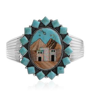 Santa Fe Style Kingman Turquoise, Multi Gemstone Sterling Silver Cuff (7.50 In) TGW 16.90 cts.