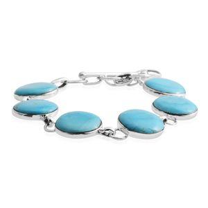 Santa Fe Style Kingman Turquoise Sterling Silver Bracelet (6.50-8.00In) TGW 10.50 cts.
