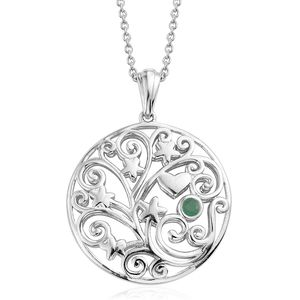 KARIS Collection - Kagem Zambian Emerald Platinum Bond Brass Pendant With Stainless Steel Chain (20 in) TGW 0.10 cts.