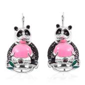Burmese Pink Jade, Thai Black Spinel Black Rhodium and Sterling Silver Panda Drop Lever Back Earrings TGW 25.10 cts.