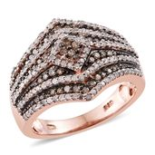 Champagne Diamond, Diamond 14K RG Over Sterling Silver Ring (Size 6.0) TDiaWt 1.02 cts, TGW 1.02 cts.