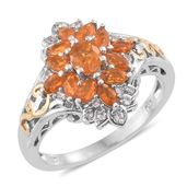 Salamanca Fire Opal, Cambodian Zircon 14K YG and Platinum Over Sterling Silver Ring (Size 9.0) TGW 1.02 cts.