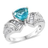 Paraiba Topaz, White Topaz Platinum Over Sterling Silver Ring (Size 5.0) TGW 3.15 cts.
