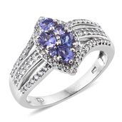 Premium AAA Tanzanite, Cambodian Zircon Platinum Over Sterling Silver Ring (Size 6.0) TGW 1.46 cts.