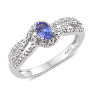Premium AAA Tanzanite, Cambodian Zircon Platinum Over Sterling Silver Ring (Size 10.0) TGW 0.95 cts.