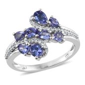 Premium AAA Tanzanite, Cambodian Zircon Platinum Over Sterling Silver Ring (Size 9.0) TGW 1.85 cts.