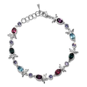 Stainless Steel Bracelet (7.50 In) Made with SWAROVSKI Multi Color Crystal TGW 3.90 cts.