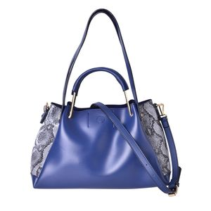 Blue with Black & White Snake Skin Pattern Faux Leather Tote Bag (14.2x6x8.4 in)