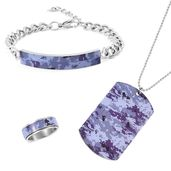 FOR HIM Stainless Steel Bracelet (8 in), Ring (Size 11) and Pendant With Chain (11.00 In)