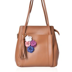 Tan Faux Leather Shoulder Bag with Multi Color 3D Floral Design (9.5x5x10.5 in)