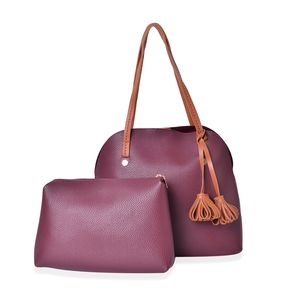 Burgundy Faux Leather Standing Studs Shoulder Bag (13x6x12 in) with Matching Pouch (11x2.5x8 in)