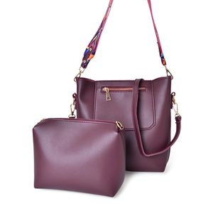 Burgandy Faux Leather Saddle Bag (8x3x10 in) and Matching Pouch with 2 Removable Shoulder Straps (8.5x2x6 in)
